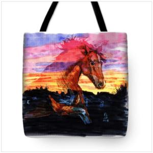 Sunset horse bag